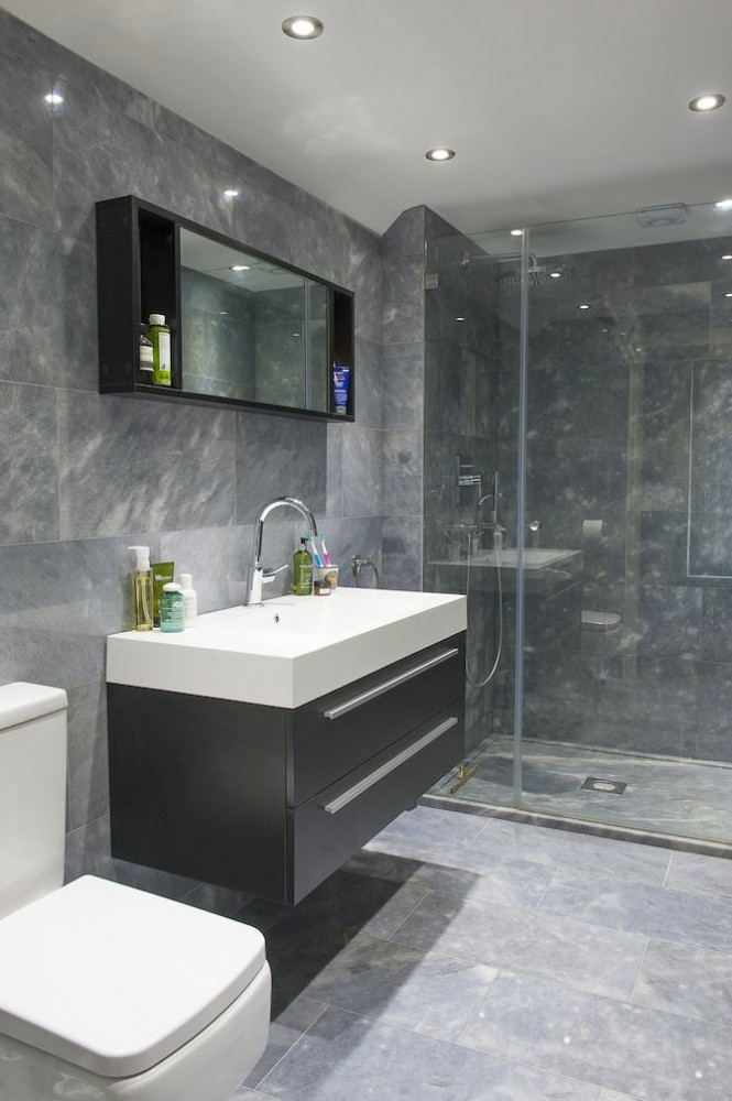 11-contemporary-style-interior-design-bathroom-dark-brown-wall-mounted-suspended-vanity-unit-rectangular-wash-basin-glass-walk-in-shower-gray-wall-floor-tiles-faux-marble