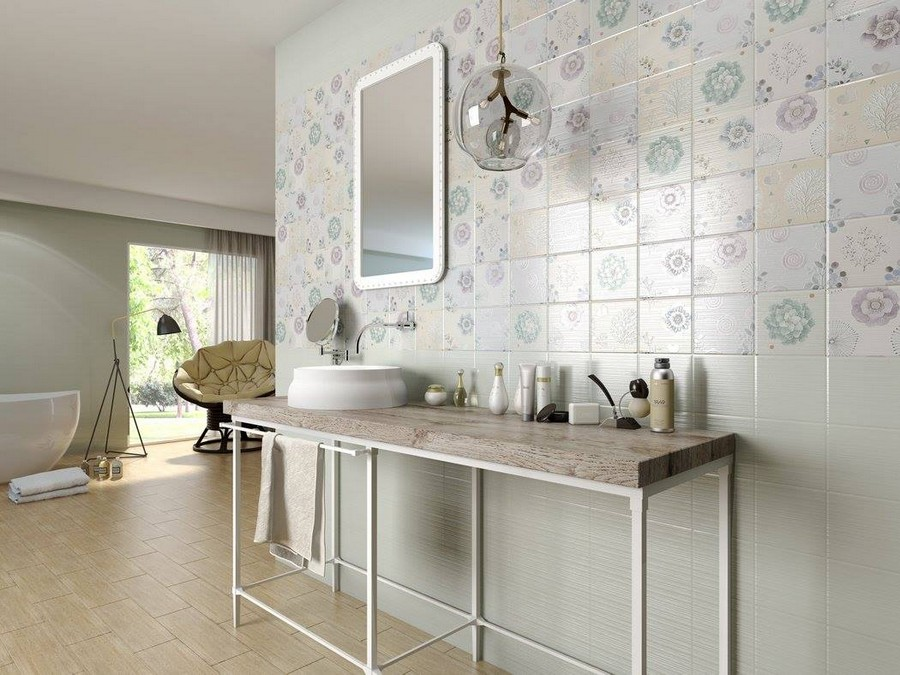 12-1-ceramic-tiles-in-interior-design-Cas-Ceramica-brand-collection-2017-pastel-beige-blue-gray-vintage-style-wall-tiles-bathroom-countertop-rectangular-mirror-suspended-glass-ball-lamp