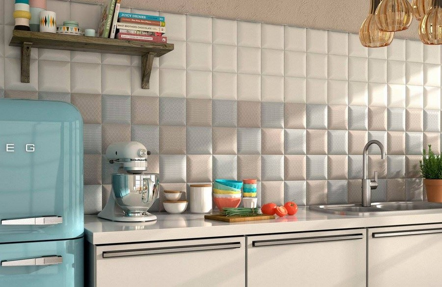 12-2-ceramic-tiles-in-interior-design-Cas-Ceramica-brand-collection-2017-pastel-beige-blue-white-wall-tiles-with-3D-effect-little-small-scale-square-tiles-SMEG-refrigerator-Italian-style-retro