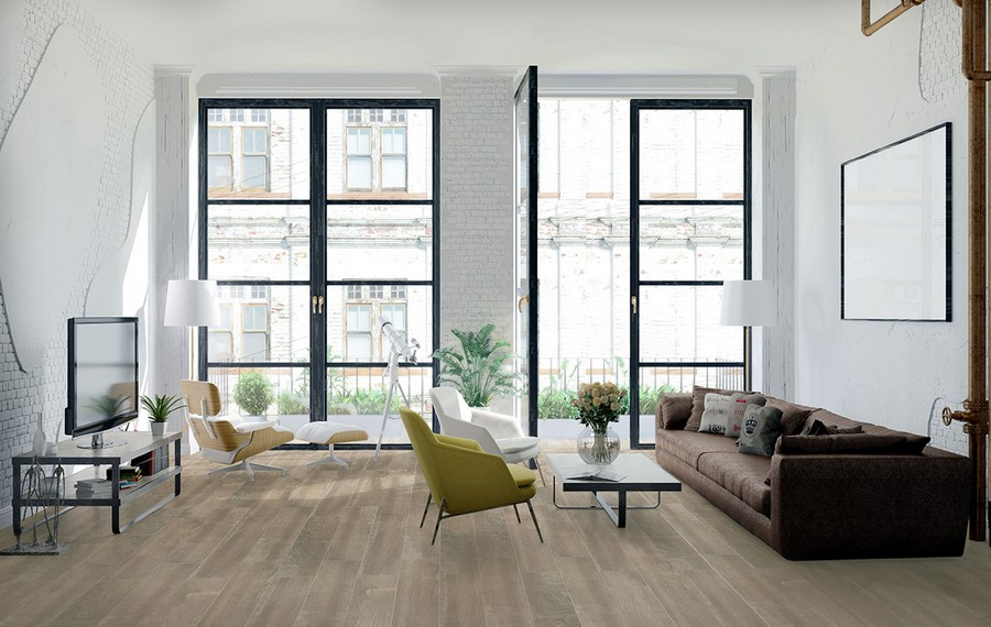 13-1-ceramic-tiles-in-interior-design-Azteca-brand-collection-2017-faux-parquet-light-wood-floor-tiles-living-room-panoramic-windows-white-faux-brick-walls