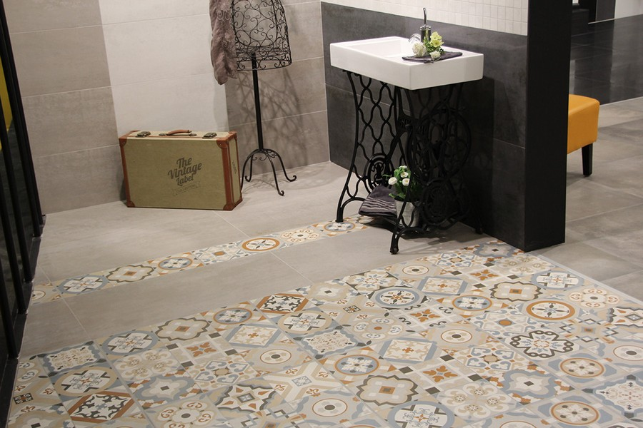 13-6-ceramic-tiles-in-interior-design-Azteca-brand-collection-2017-vintage-retro-style-bathroom-sewing-machine-remade-idea-vanity-unit-wash-basin-cabinet-Mettlach-style-floor-tiles-suitcase-wrought-coat-rack-forged