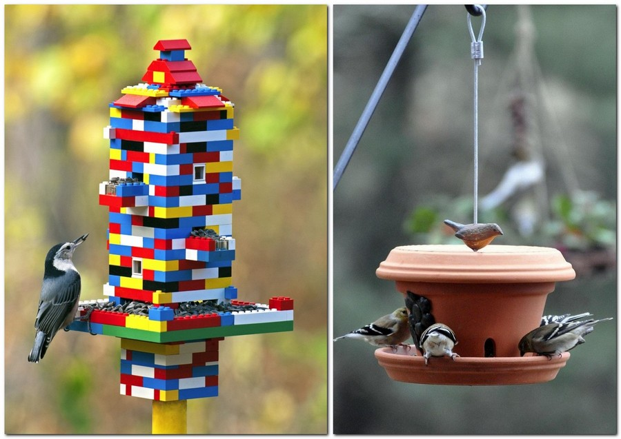 13-creative-garden-decor-ideas-birdhouse-handmade-LEGO-pieces-caly-flower-pot-re-use-ideas