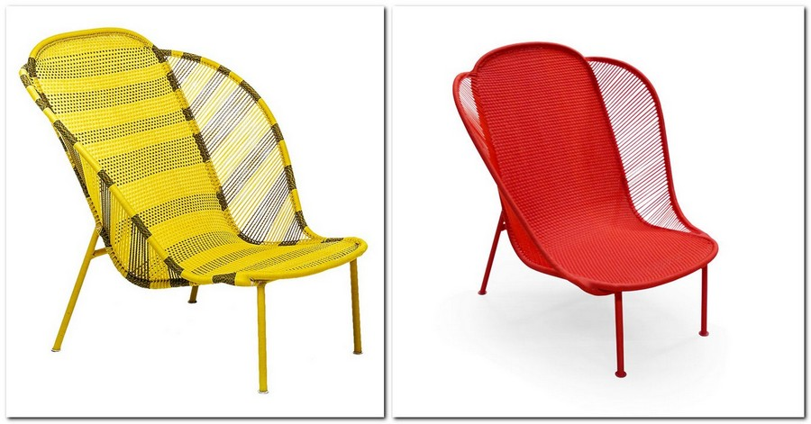 13-hand-made-woven-wicker-furniture-outdoor-bright-red-yellow-IMBA-arm-chair-designed-by-Federica-Capitani-for-Moroso