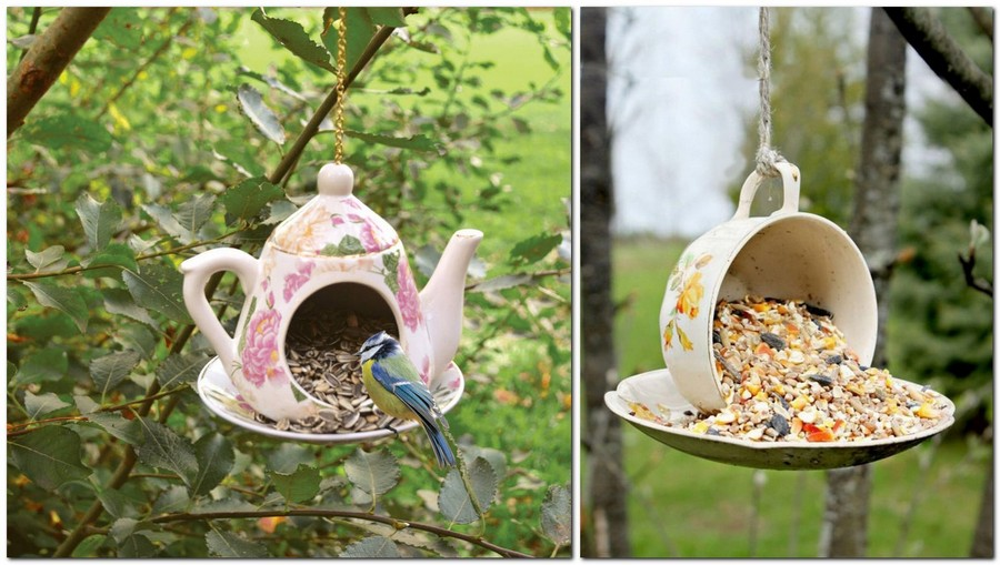 14-creative-garden-decor-ideas-old-tea-pot-tea-set-cup-saucer-re-use-ideas-birdhouse-handmade