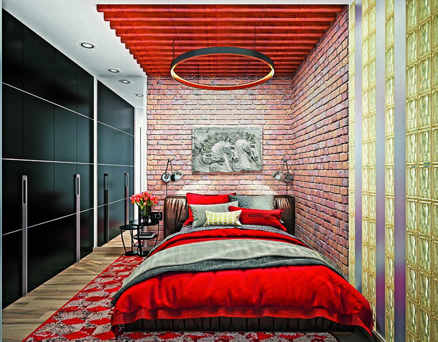14-wooden-ceiling-decor-in-interior-design-planks-loft-style-bedroom-windowless-room-glass-block-wall-red-bed-linen-faux-brick-wall-ceiling-lamp-rug-black-built-in-wall-to-wall-closet