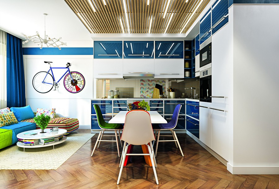 15-wooden-ceiling-decor-in-interior-design-open-concept-lounge-living-room-dining-area-kitchen-blue-glossy-cabinets-white-wall-LED-linear-lights-planks-bicycle-artwork-multi-colored-sofa-mismatched-chairs-stripy
