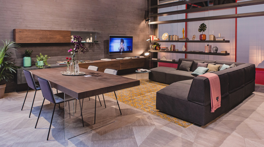 2-1-Lago-Italian-furniture-for-famous-women-Patrizia-Bambi-Pepe-wall-mounted-cabinets-TV-stand-open-racks-shelves-dining-table-living-room-interior-design-brown-corner-sofa-yellow-rug-glass-coffee-table-base
