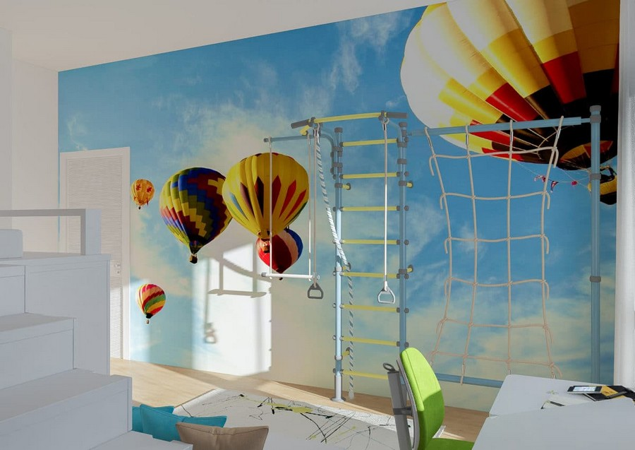 2-1-kids-toddler-room-bedroom-playroom-interior-design-idea-blue-wall-mural-bright-air-balloons-theme-gym-wall-bars-rope-ladder-blue-sky-white-door