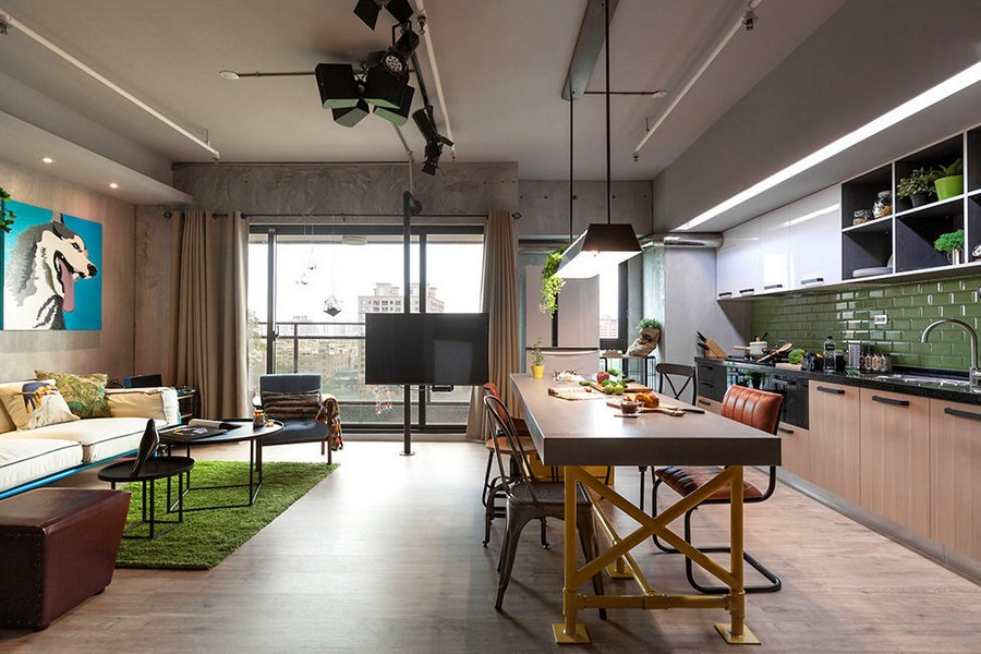 2-1-open-concept-living-room-dining-area-kitchen-interior-design-Taiwan-island-bar-table-mismatched-stools-chairs-yellow-legs-pastel-green-backsplash-loft-style-motifs-sofa-TV-set-panoramic-window
