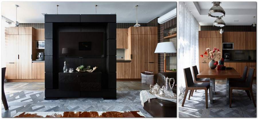 2-2-contemporary-style-interior-design-open-concept-living-room-dining-kitchen-gray-modular-parquet-walnut-furniture-wenge-tiles-black-TV-stand-partition-faux-wood-kitchen-cabinets-dining-set-sofa-padded