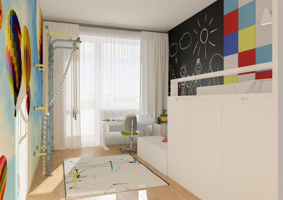 2-2-kids-toddler-room-bedroom-playroom-interior-design-idea-white-chalkboard-wall-loft-bed-stairs-storage-beneath-work-area-desk-wheeled-chair-rug-gym-wall-bars-wall-mural-air-balloons-red-yellow-blue-accents