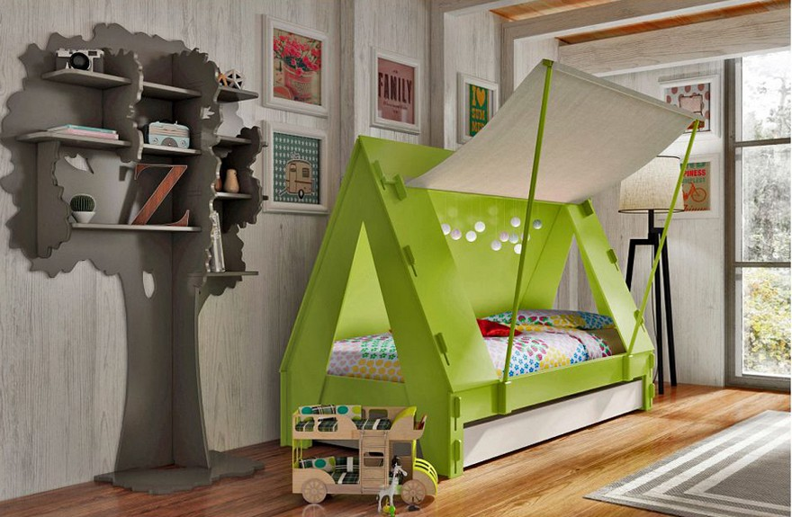 2-3-creative-interesting-non-standard-furniture-design-kids'-room-interior-wooden-teepee-wigwam-Indian-beds-Mathy-by-Bols-Belgium-eco-style-green