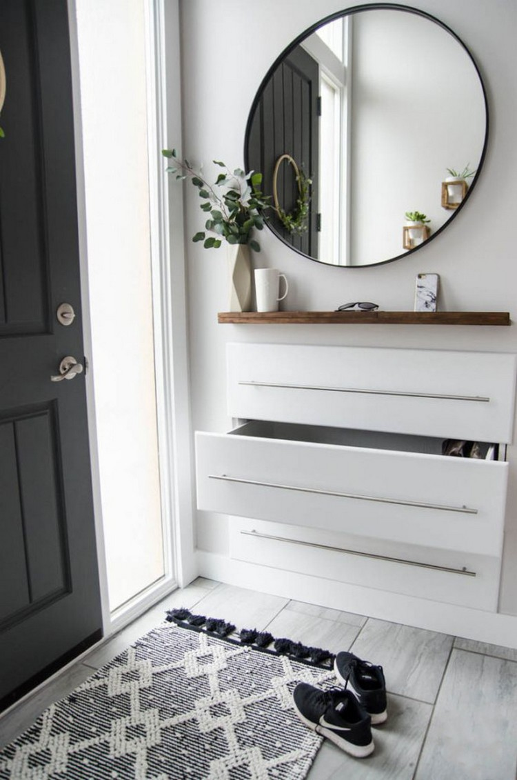 2-3-hallway-entry-room-entrance-hall-mudroom-interior-design-shoe-storage-ideas-cabinet-Scandinavian-style-three-drawers-rug-black-gray-big-asymmetrical-mirror