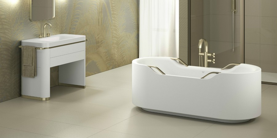 2-Roca-beige-bathroom-interior-design-wash-basin-vanity-unit-bathtub-smooth-lines-elegant-luxurious-golden-faucet