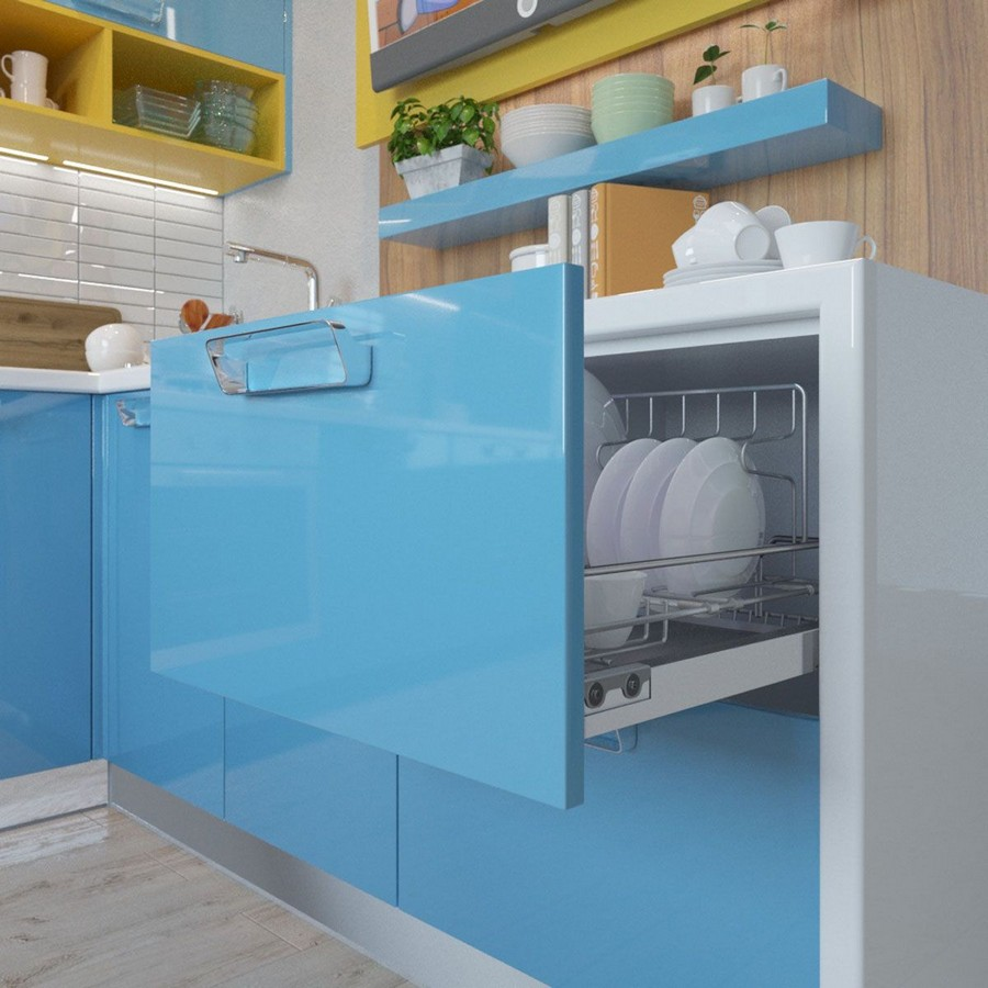 2-blue-kitchen-cabinets-glossy-set-pull-out-drawer-for-dishes-open-racks-light-faux-wood-backsplash-steel-handles