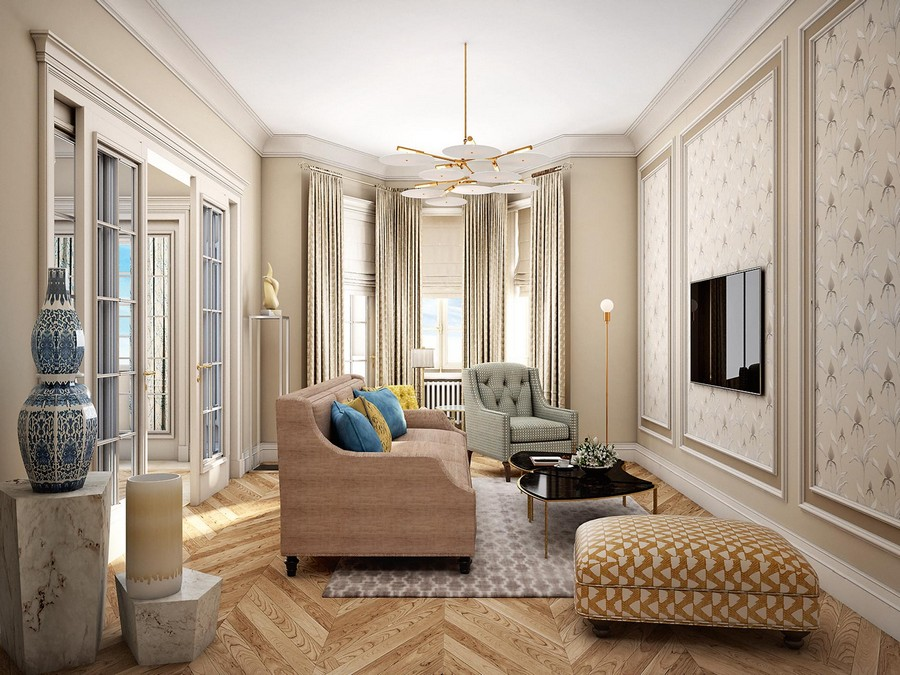 2-contemporary-neo-classical-interior-design-Ameerican-style-furniture-beige-living-room-lounge-symmetrical-rug-sofa-ottoman-blue-yellow-accents-wall-panelling-TV-set-marble-pedestals-lamp-brass-bay-window
