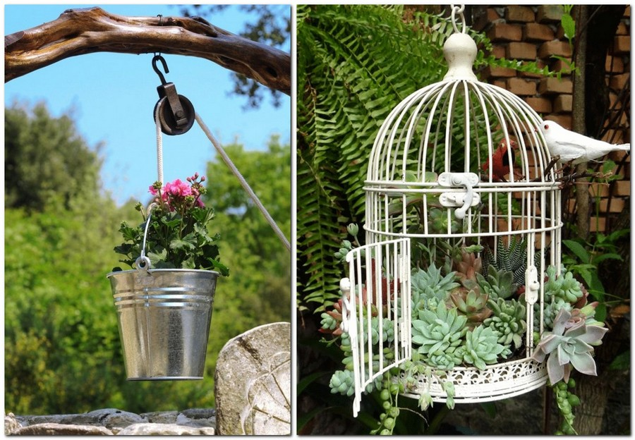 2-creative-garden-decor-ideas-flower-pink-growing-planted-in-metal-bucker-bird-cage-with-succulents