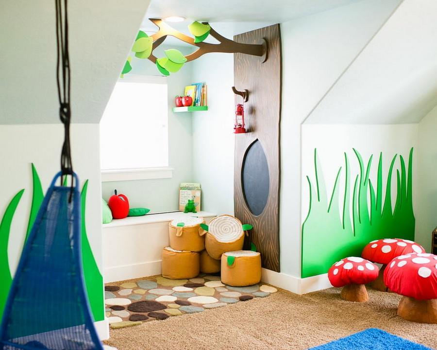 2-kid's-playroom-toddler-room-interior-design-window-sill-bench-carved-wooden-decor-grass-shaped-wall-tree-fly-agaric-ottomans-fairy-tale-magical-woodland (2)