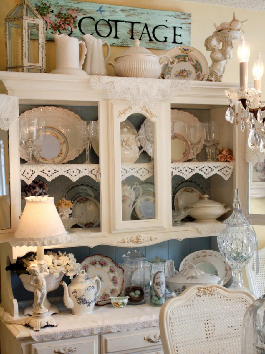 2-shabby-chic-style-interior-design-dining-room-cupboard-beige-white-painted-table-lamp-lace-napkins-tableware-cup-tea-sets-jug-display-cabinet