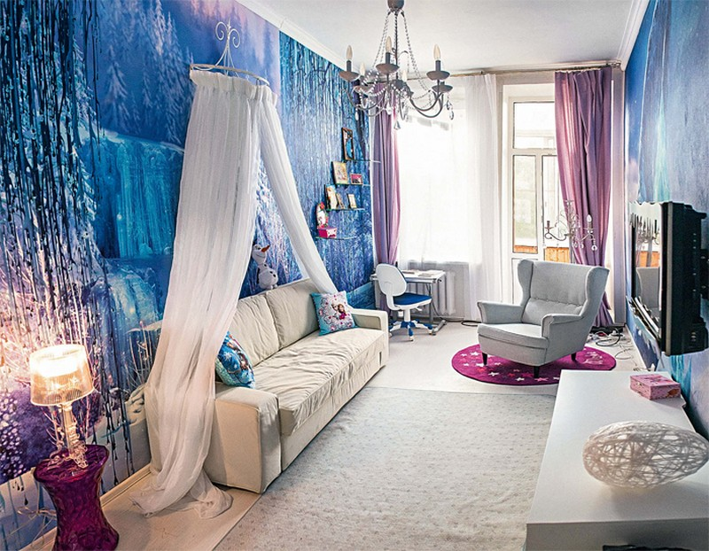 2-white-blue-purple-kid's-girl's-room-bedroom-interior-design-Frozen-film-canopy-bed-arm-chair-writing-desk-wall-mural-winter-ice-kingdom-wall-covering-table-lamp-crystal-pendants-TV-set-chandelier