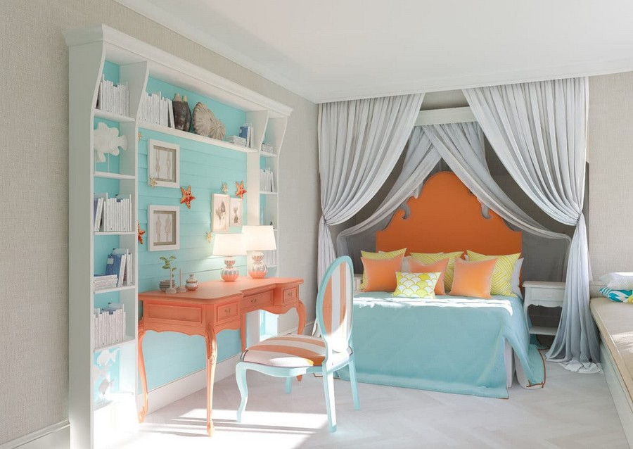 3-1-kids-toddler-room-bedroom-playroom-interior-design-idea-girl's-little-mermaid-sea-style-gray-canopy-bed-carved-orange-headboard-console-desk-curved-legs-shelving-unit-blue-bedspread-elegant