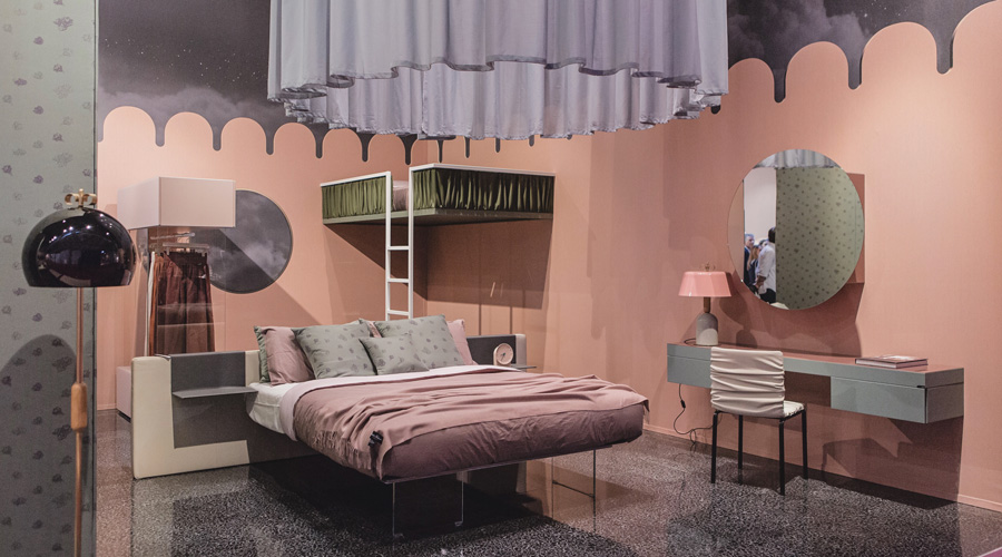 3-2-Lago-Italian-furniture-for-famous-women-Cristina-Celestino-pink-and-gray-bedroom-interior-design-romantic-glass-base-of-bed-fabric-lampshade-dressing-table-closet-loft-bed-floor-lamp