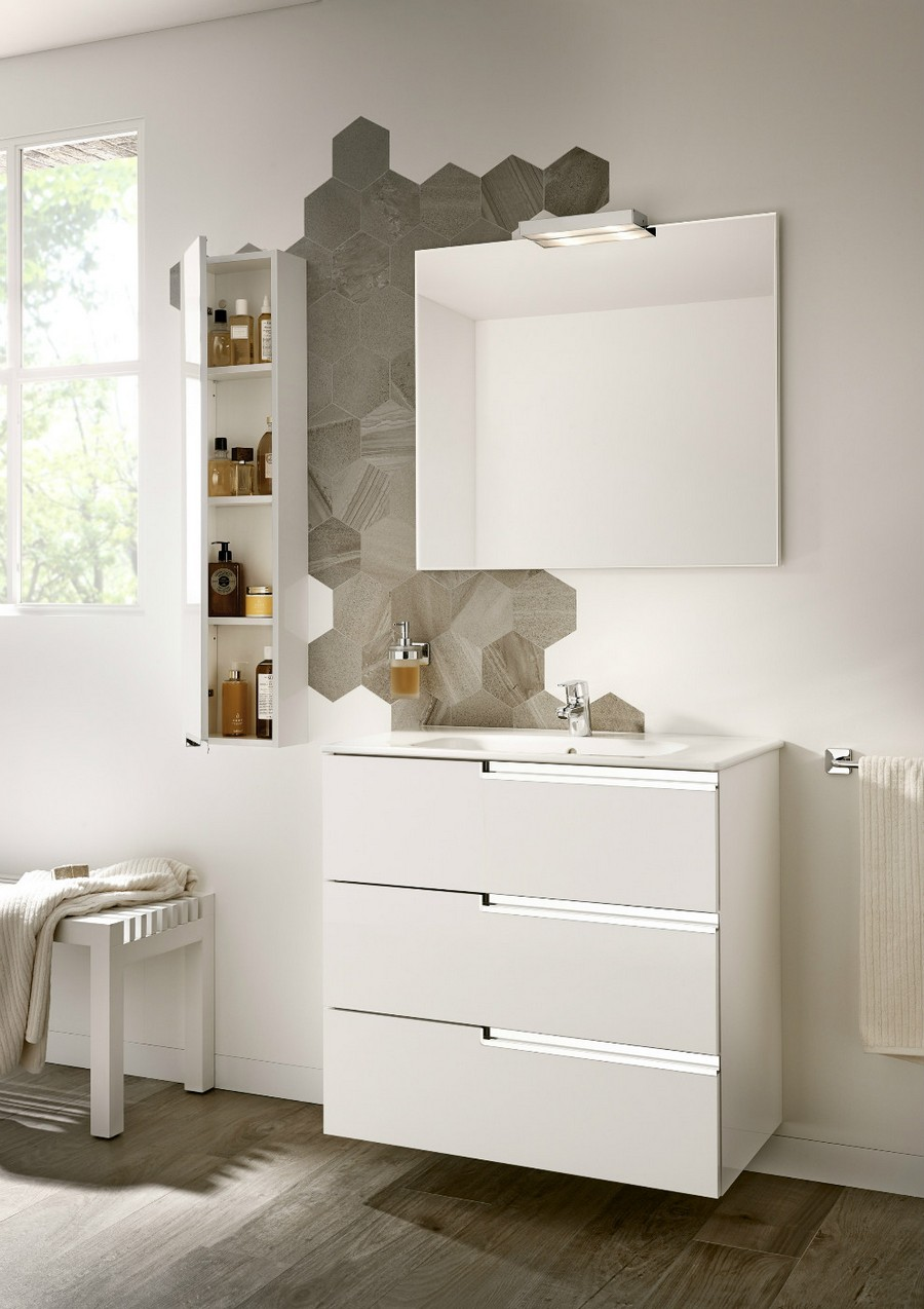 3-2-Roca-beige-bathroom-interior-design-wash-basin-vanity-unit-white-wall-mounted-cabinet-square-mirror-hexagonal-wall-tiles-gray