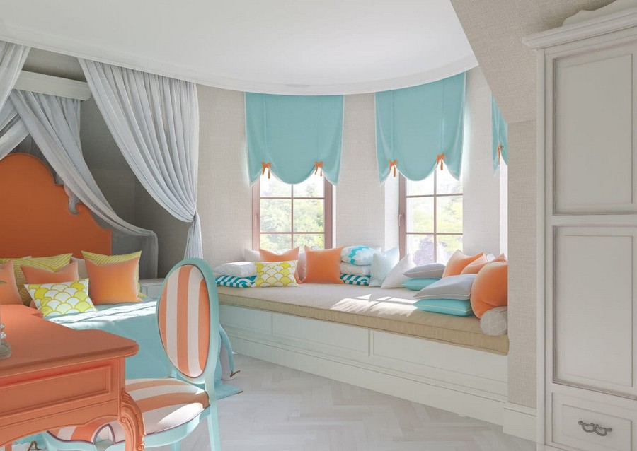 3-2-kids-toddler-room-bedroom-playroom-interior-design-idea-elegant-girl's-little-mermaid-style-gray-canopy-bed-carved-orange-headboard-white-closet-window-seat-bay-window-roman-blinds-throw-pillows