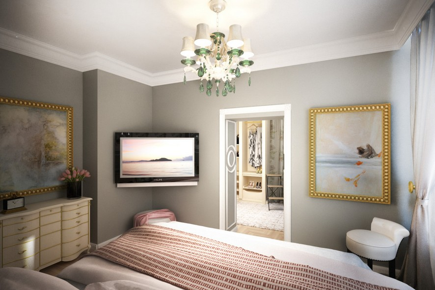 3-2-neo-classical-style-interior-design-light-bedroom-gray-walls-beige-curved-chest-of-drawers-TV-set-arm-chair-artworks-paintings-walk-in-closet-boudoir