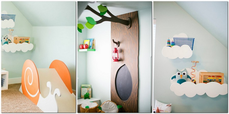3-carved-snail-shaped-kid's-slide-wooden-orange-white-cloud-shaped-bookshelves-sloped-ceiling-toddler-room-playroom-interior-design-ideas-tree-woodland-forest-magical-lantern