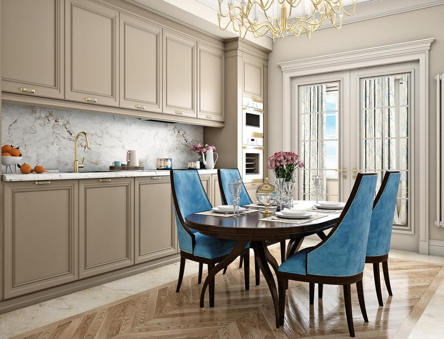 3-contemporary-neo-classical-interior-design-Ameerican-style-furniture-beige-kitchen-dining-room-wooden-cabinets-blue-dining-chairs-oval-table-crown-moldings-brass-chandelier-handles-faucet-balcony-exit