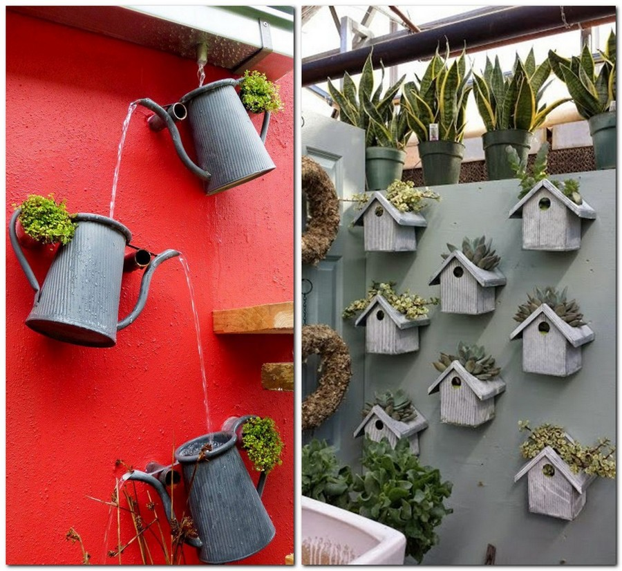 3-creative-garden-decor-ideas-handmade-fountain-watering-cans-flower-pots-small-houses-succulents-roof-wall-decor