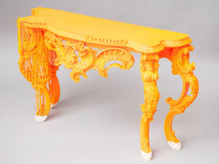 4-1-3D-printed-furniture-made-on-3D-printer-textured-neylon-plastic-BigRep-Germany-design-orange-console-table