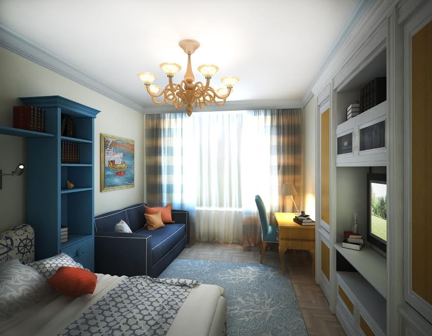 4-3-neo-classical-style-interior-design-light-kids-room-interior-design-blue-bookstand-bookcase-shelves-writing-desk-stripy-curtains-blue-sofa-rug-orange-chandelier-TV-set