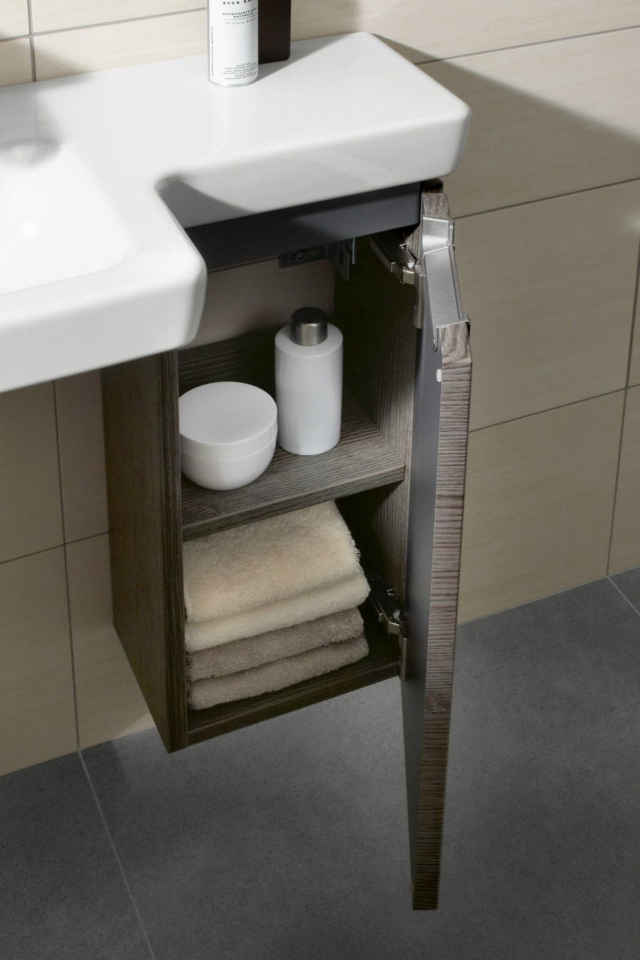 4-4-Villeroy-&-Boch-beige-bathroom-interior-design-wash-basin-vanity-unit-narrow-wall-mounted-cabinet-with-two-shelves-towel-accessories-storage