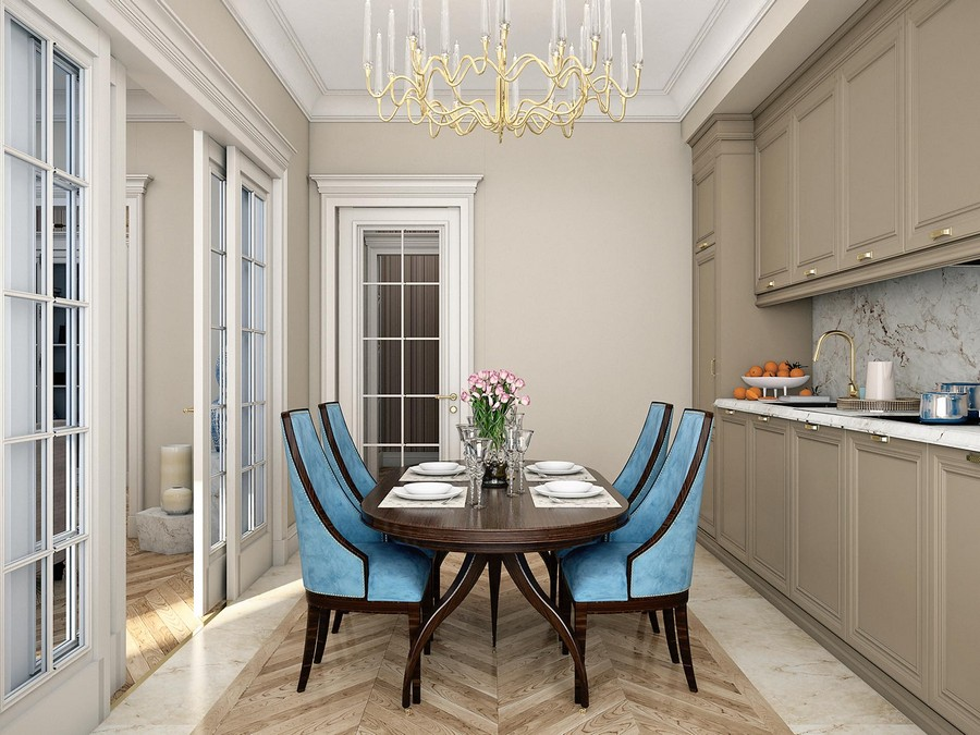 4-contemporary-neo-classical-interior-design-Ameerican-style-furniture-beige-kitchen-dining-room-wooden-cabinets-blue-dining-chairs-oval-table-crown-moldings-brass-chandelier-handles-faucet-faux-marble-backsplash