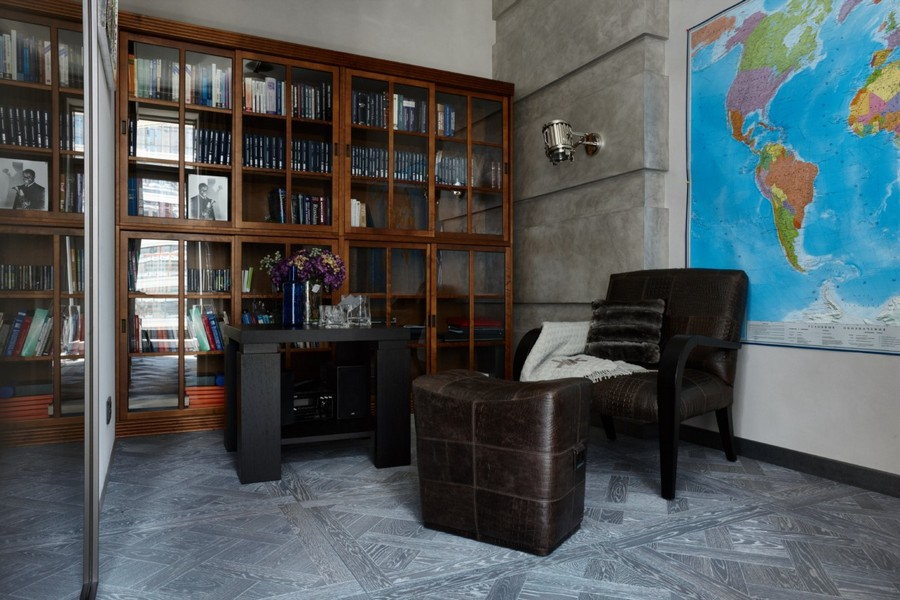 4-contemporary-style-interior-design-study-leather-sofa-dark-wood-furniture-footrest-compact-small-desk-world-wall-map-big-bookstand-bookcase-glass-walnut-gray-modular-parquet
