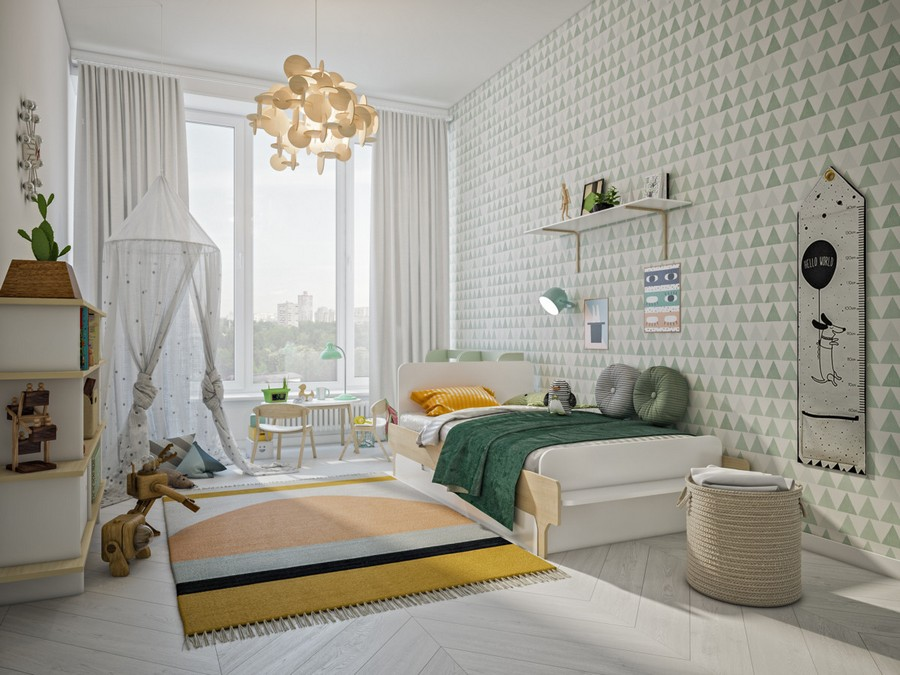 4-creative-Scandinavian-style-interior-design-light-airy-with-big-panoramic-windows-kid's-toddler-room-bedroom-white-wallpaper-geometric-triangular-pattern-yellow-rug-green-bed-cover-hut-playhouse-curtains-low