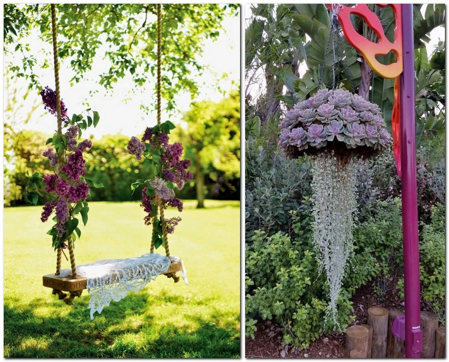 4-creative-garden-decor-ideas-suspended-succulents-composition-swing-decorated-with-flowers