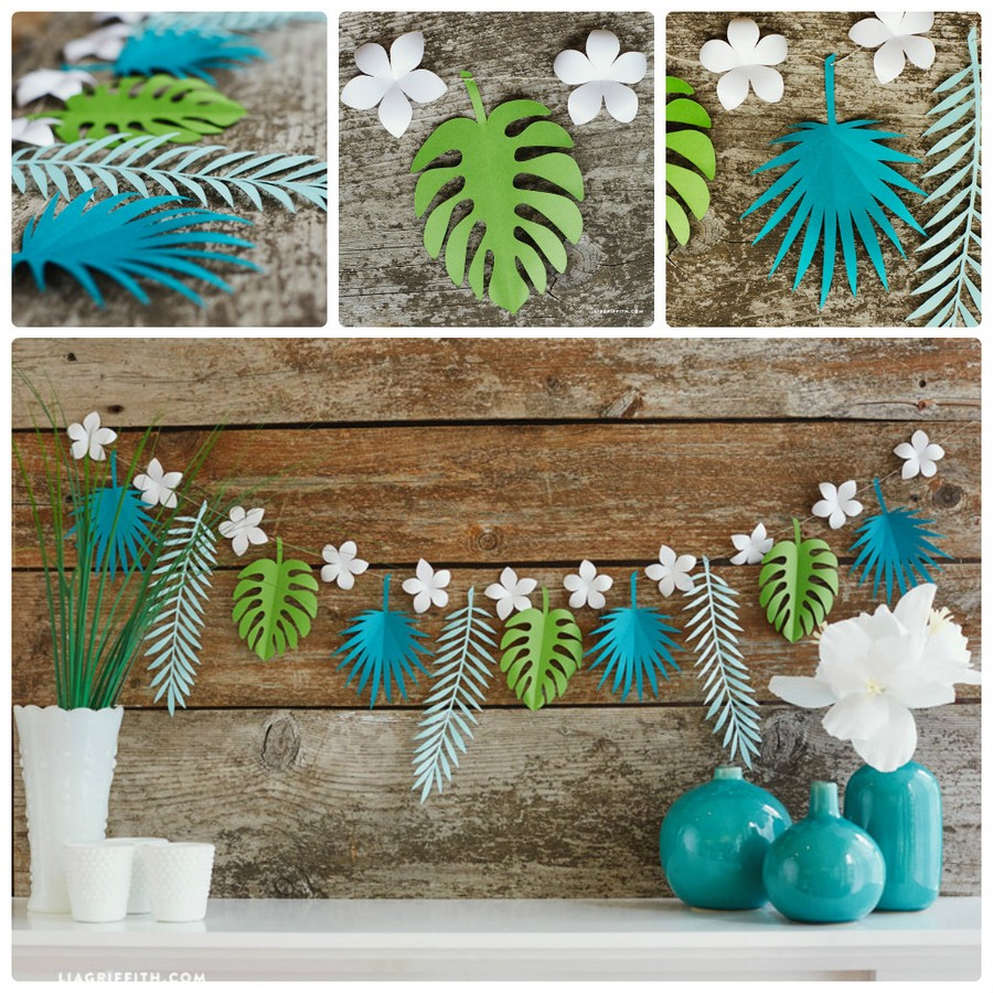 4-handmade-colored-paper-garlands-ideas-home-decor-party-holiday-tropical-motifs-foliage-leaves-flower-blue-white-green