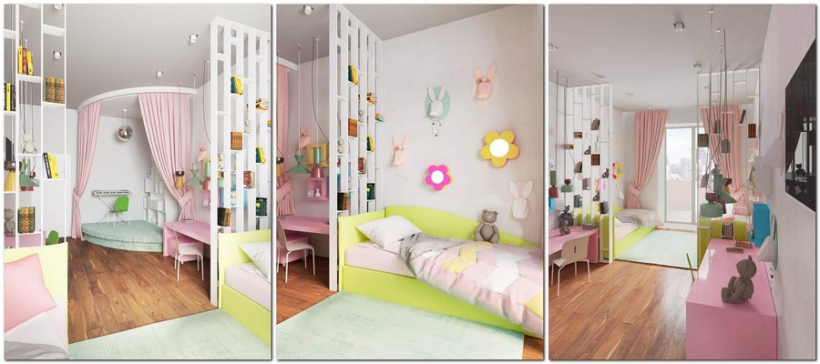 4-kids-toddler-room-bedroom-playroom-interior-design-idea-white-walls-pink-green-accents-curtains-work-desk-area-music-corner-piano-on-podium-shelving-unit-balcony-exit-flower-wall-decor