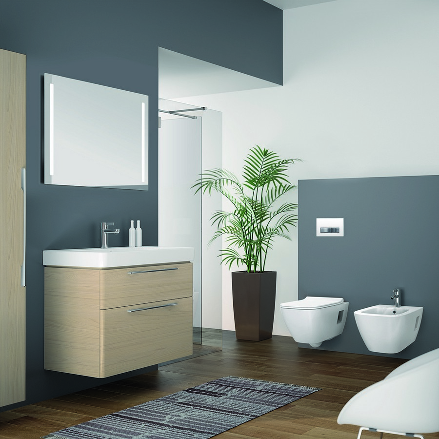 5-2-Keramag-beige-bathroom-interior-design-wash-basin-vanity-unit-toilet-light-wood-wall-mounted-cabinet-white-bidet-gray-blue-walls-rug-rectangular-mirror