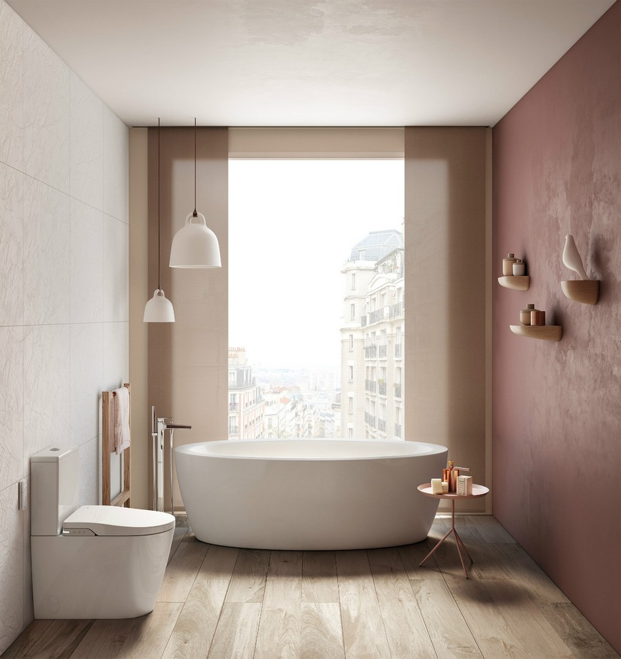 5-3-Roca-beige-bathroom-interior-design-wash-basin-vanity-unit-bathtub-romantic-pink-walls-pastel-oval-bath-free-standing-faucet-smooth-lines-pendant-lamps-big-windows