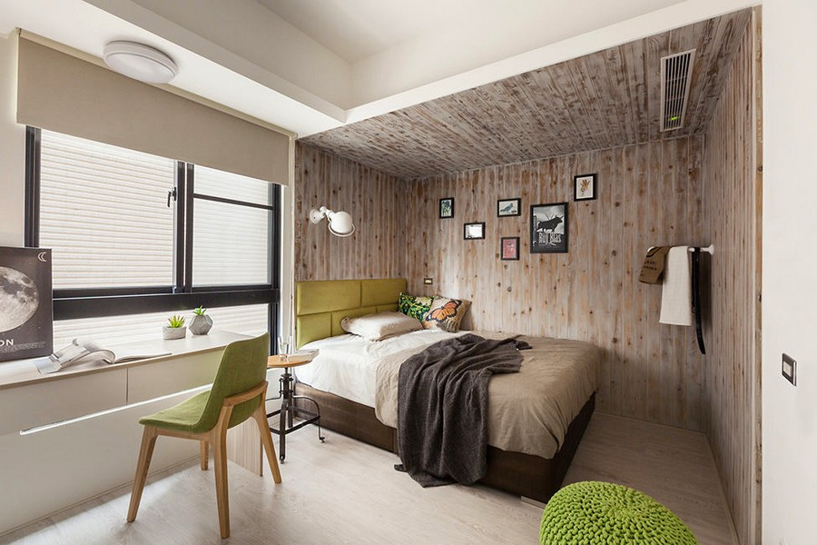5-3-light-bedroom-interior-design-Taiwan-eco-style-wooden-wall-decor-writing-desk-green-accents-chair-upholstered-bed-headboard-ottoman-white-writing-desk-big-window-Venetian-blinds