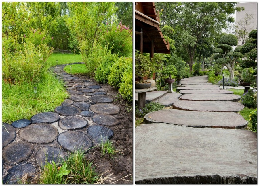 5-4-garden-path-design-ideas-walkway-pathway-wood-cross-section-cuts