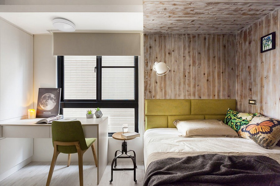5-4-light-bedroom-interior-design-Taiwan-eco-style-wooden-wall-decor-writing-desk-green-accents-chair-upholstered-bed-headboard-ottoman-white-writing-desk-big-window-Venetian-blinds
