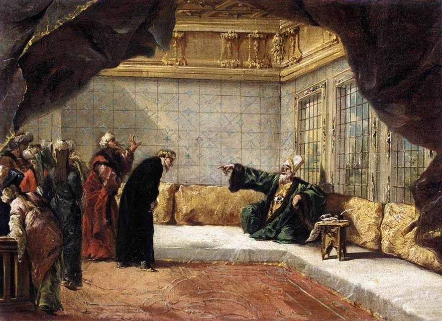 5-The-Armenian-Priest-Dergumidas-before-the-Grand-Vizier-ottomans-Giovanni-Antonio-Guardi-painting-sofa-reception-room-drawing-room
