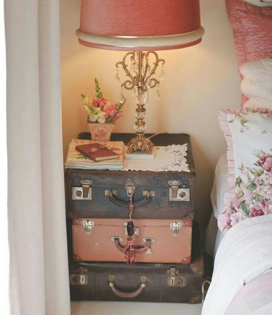 5-shabby-chic-style-decor-in-bedroom-interior-design-floral-pillows-white-bed-linen-lace-napkin-pink-table-lamp-re-used-vintage-suitcases-with-pendants-as-nightstand-handmade-ideas