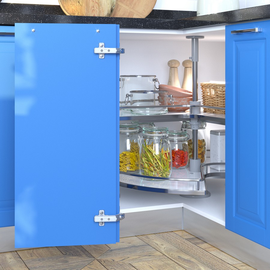 5-swivel-two-level-kitchen-mechanism-corner-cabinet-blue-doors-with-panelling-rotating-shelves-jars