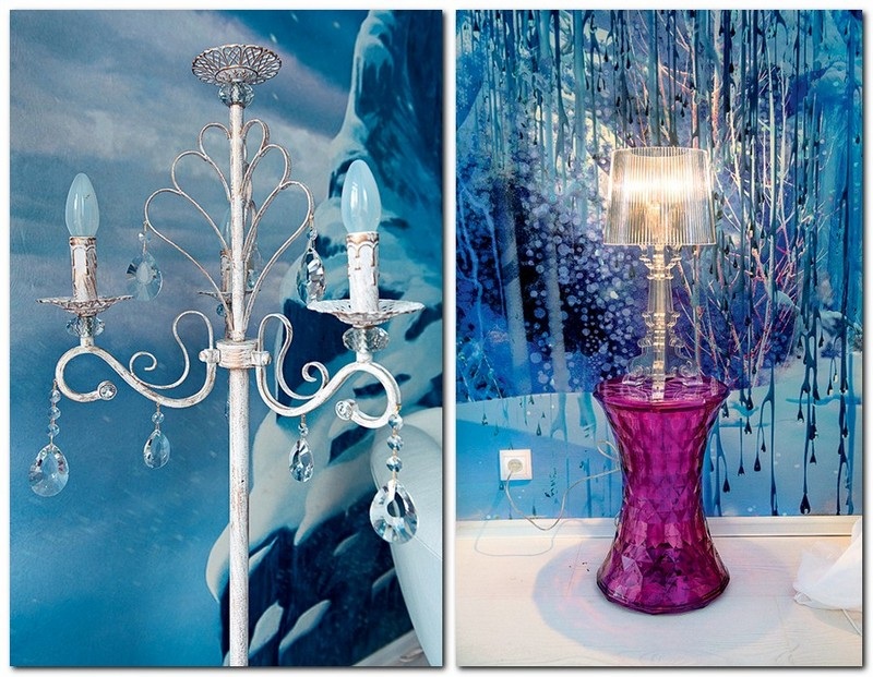 5-white-blue-purple-kid's-girl's-room-bedroom-interior-design-accessories-decor-Frozen-film-cartoon-table-lamp-floor-lamp-with-blue-bulbs-crystal-pendants-wall-covering